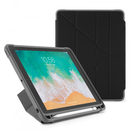 Pipetto iPad 9.7-inch Origami Shield Case Black - Front