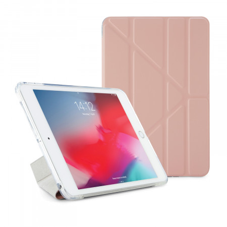 Pipetto iPad mini 5 / iPad mini 4 Origami TPU Luxe Case Dusty Pink and Clear - Front