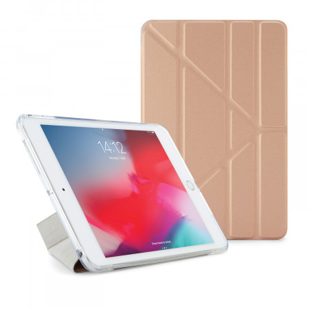 Pipetto iPad mini 5 / iPad mini 4 Origami TPU Metallic Case Rose Gold and Clear - Front
