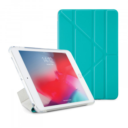Pipetto iPad mini 5 / iPad mini 4 Origami TPU Luxe Case Turquoise and Clear - Front