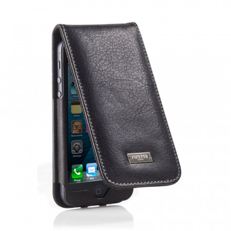 Black Leather iPhone 5 Flip Case