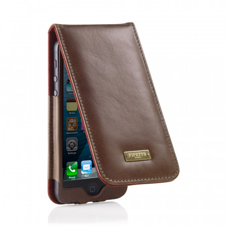 Brown Leather iPhone 5 Flip Case