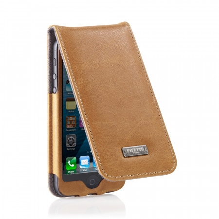 Tan Leather iPhone 5 Flip Case