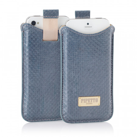 Luxury iPhone 5/5S Snakeskin Pouch Case - Grey Snakeskin