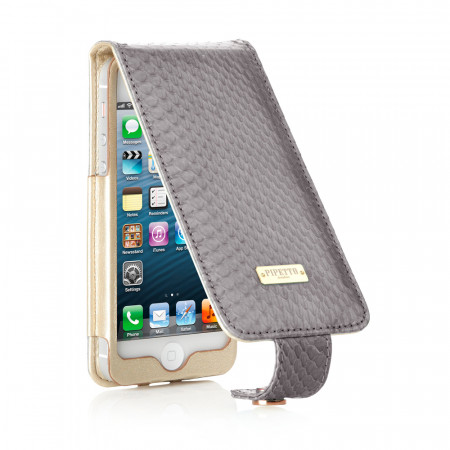 Luxury Grey Snakeskin Leather iPhone 5/5S/5C Flip Case