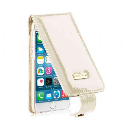 iPhone 6 / iPhone 6S Luxury Harlequin Flip Case - Patent Pearl