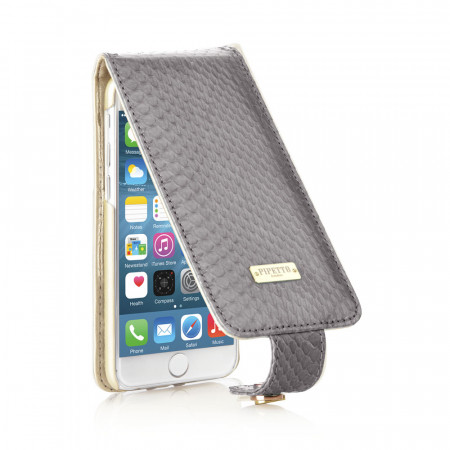 Leather iPhone 6 / iPhone 6S Harlequin Flip Case - Grey Snakeskin