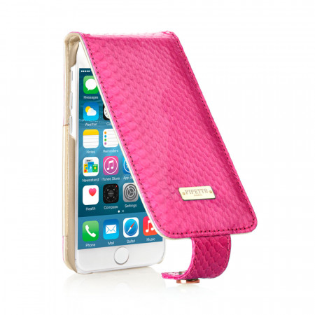 Leather iPhone 6 / iPhone 6S Harlequin Flip Case - Cerise Snakeskin