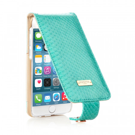 Leather iPhone 6 / iPhone 6S Harlequin Flip Case - Turquoise Snakeskin