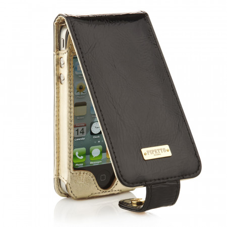 Luxury iPhone 4 & 4S Flip Case - Black (Open)