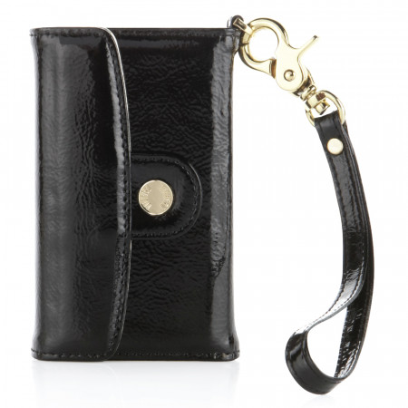 Luxury iPhone 3GS/4/4S Leather Wallet - Patent Black