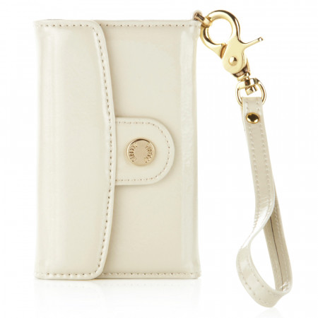 Luxury iPhone 3GS/4/4S Leather Wallet - Patent Pearl