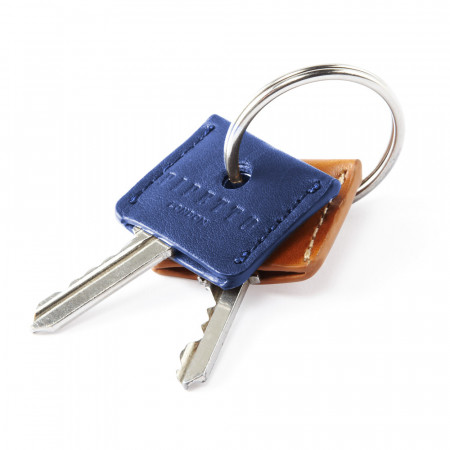 Key Cover Set - Tan Black Leather Waxy Key Ring