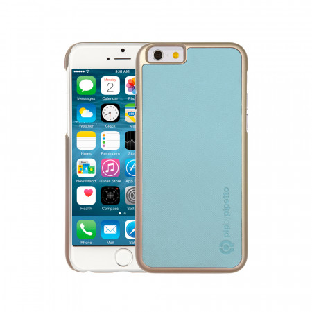 iPhone 6 / iPhone 6S Saffiano Snap Case - Light Blue Saffiano & Champagne Gold Shell
