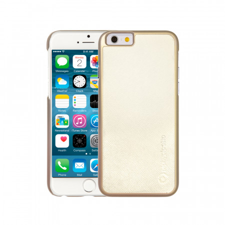 iPhone 6 / iPhone 6S Saffiano Snap Case - White Saffiano & Champagne Gold Shell