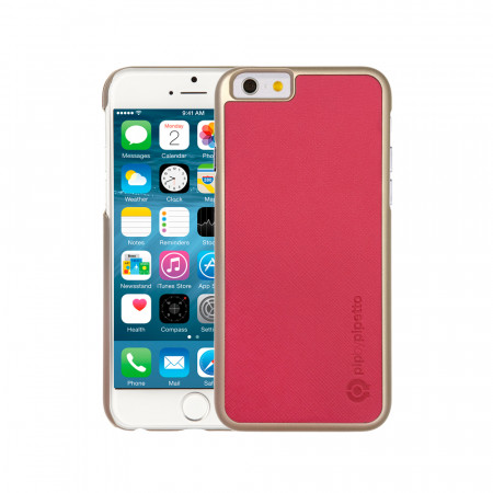 iPhone 6 / iPhone 6S Saffiano Snap Case - Dark Pink Saffiano & Champagne Gold Shell