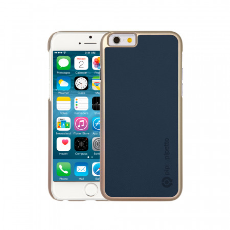 iPhone 6 / iPhone 6S Saffiano Snap Case - Navy Saffiano & Champagne Gold Shell