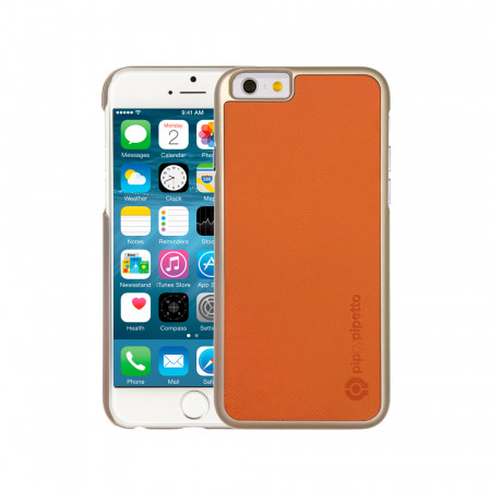 iPhone 6 / iPhone 6S Saffiano Snap Case - Orange Saffiano & Champagne Gold Shell