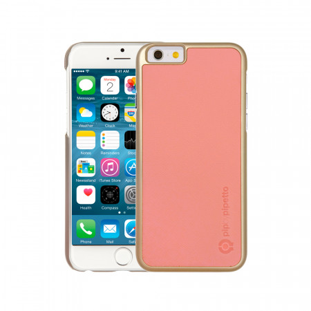 iPhone 6 / iPhone 6S Saffiano Snap Case - Light Pink Saffiano & Champagne Gold Shell