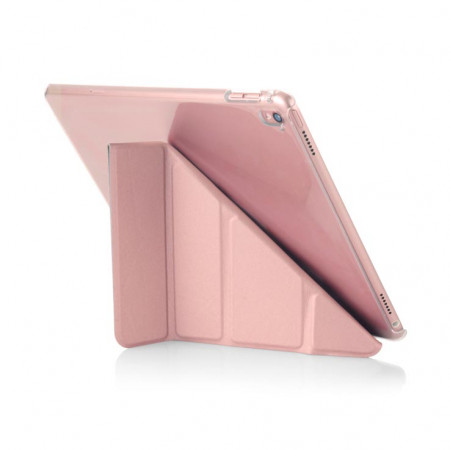 Pipetto 9.7-inch iPad Pro Origami Clear back case & Rose Gold cover - back interior