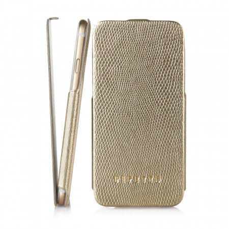 Pipetto iPhone 6 / iPhone 6S Skinny Flip Case - Gold - front & side