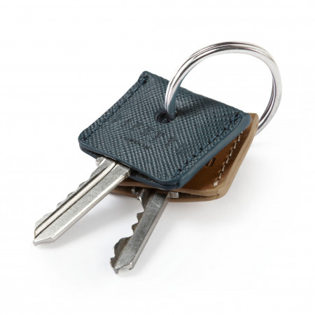 Key Cover Set - Navy Saffiano & Tan Leather