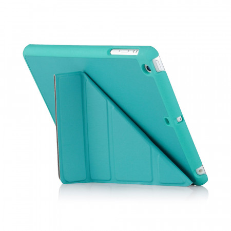 iPad Mini Case Origami Turquoise Luxury Vegan Lambskin - Stand