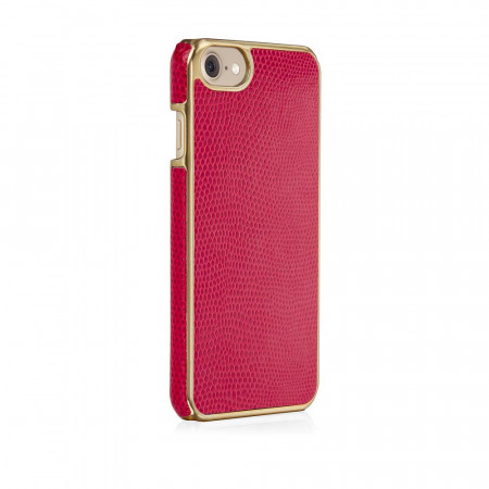 Pipetto iPhone 7 snap case cerise lizard - back angle 2