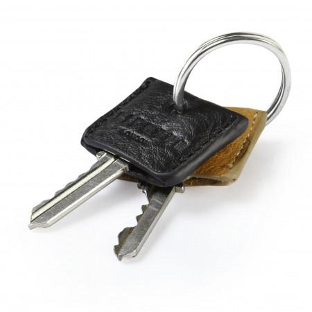 Key Cover Set - Tan Black Leather Waxy Key Ring