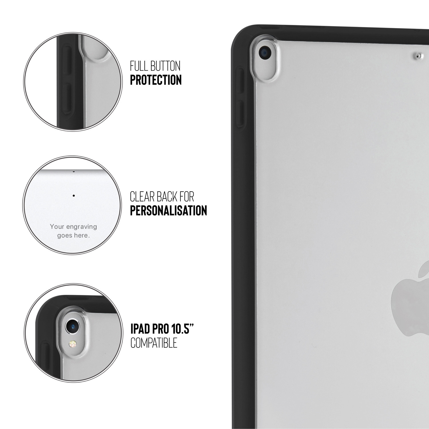 f360c69d6c74 Pipetto iPad Air 10.5 and iPad Pro 10.5 Origami TPU Case Black and Clear -  iPad
