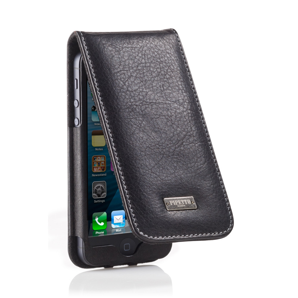 save off 25b7a f462e Black Leather iPhone 5/5S/5C and iPhone SE Flip Case