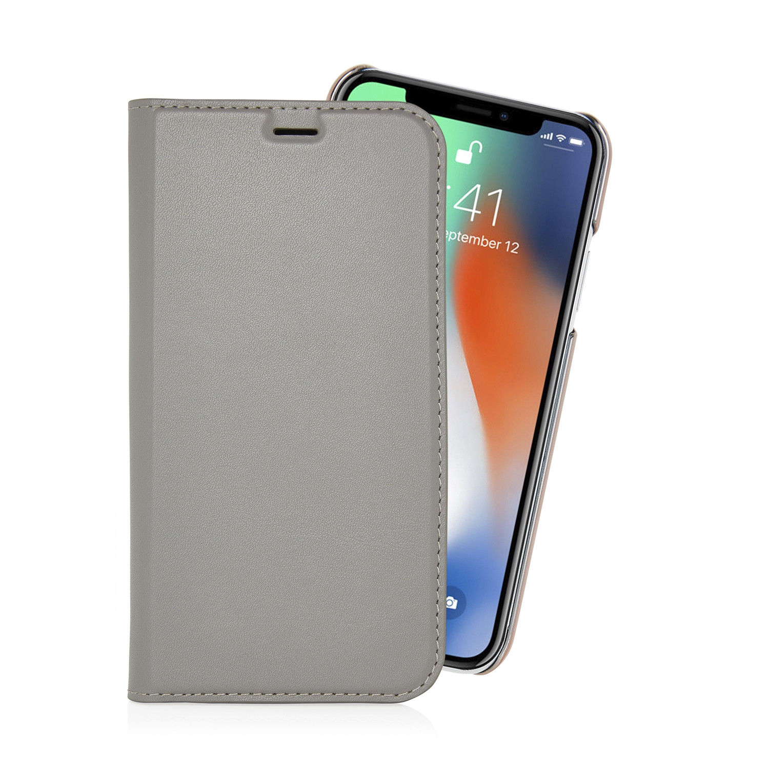 IPhone X Grey Leather Wallet Case, Magnetic With 2 Card