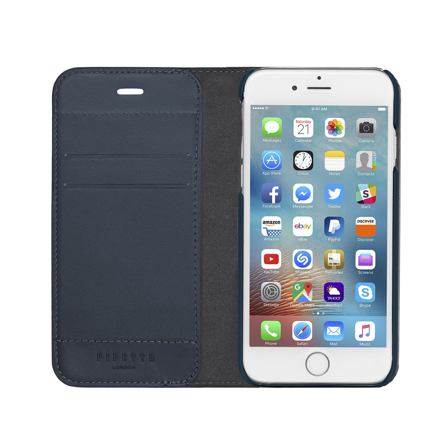 new concept 5dc70 c9da7 iPhone 7 Wallet Case [MED] Magnetic - Navy (Also Fits iPhone 6/6S and  iPhone 8)