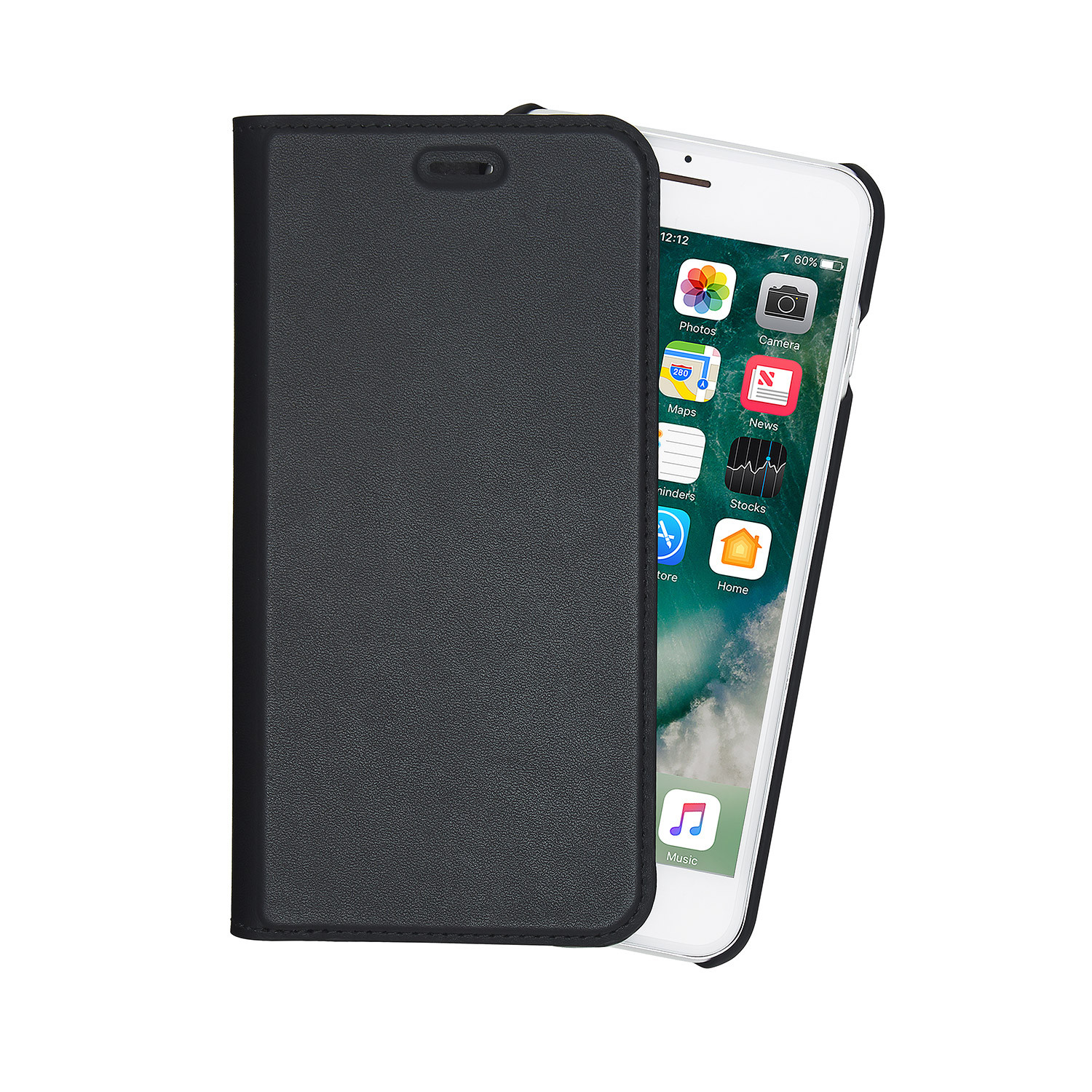b35e265cbf iPhone 7 Plus / iPhone 6 Plus / iPhone 6S Plus Black Leather Wallet ...