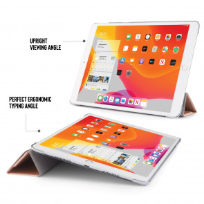 iPad 10.2 (7th & 8th Generation) Origami Case (PC) - Rose Gold & Clear
