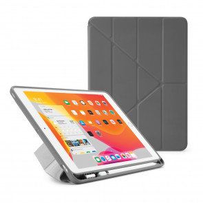 iPad 7th Generation Case 10.2 Cover Pencil Holder Grey - Hero Image