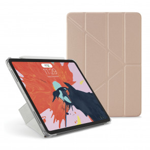 Pipetto 9.7-inch iPad Pro Origami Clear back case & Champagne Gold cover - front