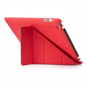 Pipetto iPad 2, 3, 4 Origami Case Red - Back Exterior