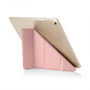 Pipetto 9.7-inch iPad Origami Clear back case & Rose Gold cover - back wide